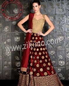 To Buy this beautiful maroon indian bridal lehenga choli. Contact at M: 91 8284833733 or email us at care@zikimo.com or visit :www.zikimo.com #zikimo #smartzikimo http://ift.tt/1Lef2aW - http://ift.tt/1HQJd81