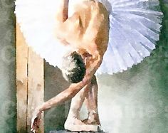 Practicing My Bow:  A Ballet Dance Watercolor Fine Art Print, Home Decor for the Ballerina or Dancer, Cottage Chic Home Decor
