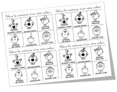 """Exercices sur les contraires """"Monsieur / Madame"""" Kids Learning Activities, Toddler Activities, Mr Men Little Miss, Core French, French Lessons, Teaching, Games, Cycle 2, Bon Point"""