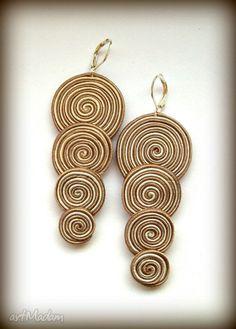 Kolczyki spiral... Soutache sutasz sutaż. $25