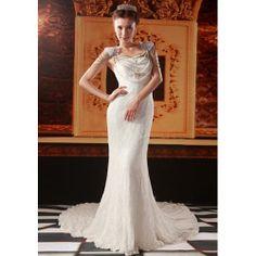 Elegant Ivory White Lace Empire Waist Bridal Wedding Reception Dress SKU-118357