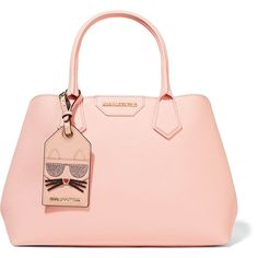 Karl Lagerfeld Lady Shopper textured-leather tote ($365) ❤ liked on Polyvore featuring bags, handbags, tote bags, pastel pink, shopper tote, tote handbags, shopper tote bag, pink tote and shopping bag