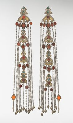 Head ornament, silver, carnelian, turquoise. Iran or Central Asia, probably Yomut, late 19th–early 20th century