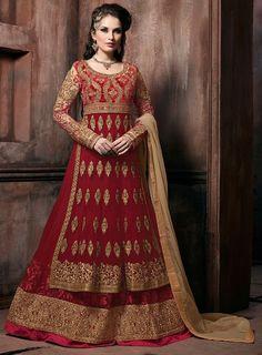 Maroon Double Layered Designer Anarkali Suit
