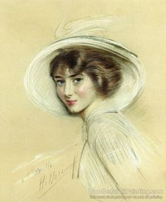 Paul Helleus oil painting A Portrait of Annette, Wearing a White Hat