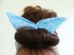 Dolly Bow Reversible Wire Headband Lite Blue by Lorettajos on Etsy, $9.00