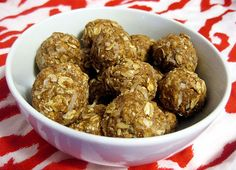 No-Bake Peanut Butter Balls. These look delicious and healthy!