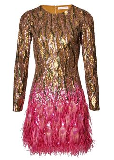 Our sequin dress has been re imagined with peacock feathers an
