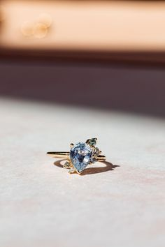 Alternative Engagement Ring inspired by all things vintage! We love this blue sapphire with spray detailing. Marrow Fine   by Jillian Sassone Alternative Engagement Rings, Beautiful Engagement Rings, Ring Crafts, Right Hand Rings, Green Tourmaline, Stacking Rings, Blue Sapphire, Blue Green, Jewlery