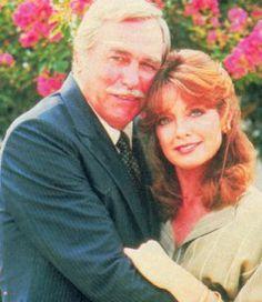 Linda Gray as sue ellen ewing Linda Gray  Howard Keel as Sue Ellen Ewing and Clayton Farlow on 'DALLAS'.