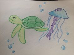 Sea Turtle and Jellyfish friends (I know turtles eat jellyfish)