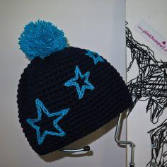 urtyp pink bommel sterne dunkelblau handmade handmade crochet beanie pinkbommel bommelmütze