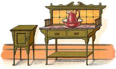 Pictures of two Victorian bedroom furniture sets including Victorian wardrobes and antique washstands. Victorian Bedroom Furniture Sets, Victorian Decor, Victorian Fashion, Wash Stand, House On A Hill, Camping Ideas, Ephemera, Curtains, Antiques