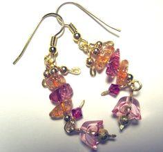 Pierced Earrings Fleur Fuschia Pink & Peach by ArianrhodWolfchild, $19.00
