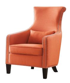 """Arles collection orange woven fabric upholstered rolled back accent chair with nail head trim.  Measures 29"""" x 35"""" x 43"""" H.  Some assembly required."""