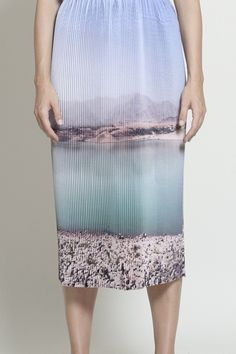 Photographic landscape print skirt in muted pastel shades; vivid scenic printed fashion // Marios