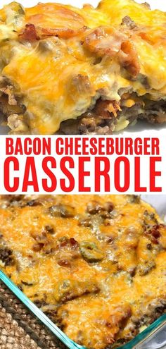 Low Carb Bacon Cheeseburger Casserole - Curbing Carbs - Cheesy bacon cheeseburger casserole that is low carb and so easy to make. This a delicious keto cas - Low Carb Cheeseburger Casserole, Bacon Cheeseburger Soup, Keto Casserole, Easy Casserole Recipes, Chicken Casserole, Cheese Burger Soup Recipes, Meat Recipes, Cooking Recipes, Easy Bacon Recipes