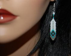 Native American Inspired Beaded Feather Earrings Handbeaded Delica Seed Beads Hand Beaded Brick Stitch Dangle Jewelry Blue Turquoise Luv
