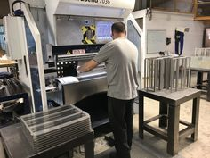 Folding sheet metal housings on our Trumpf 7036 CNC press brakes Stainless Steel Sheet Metal, Cnc Press Brake, Sheet Metal Work, Cad Cam, Metal Projects, Bending, 30 Years, Metal Working