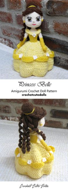 Amigurumi Crochet Doll Pattern & Tutorial for the Disney Princess Belle from The Beauty and the Beast by Crochet Cute Dolls