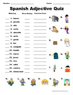 Spanish Adjective Quiz from Spanish the easy way! on TeachersNotebook.com -  (4 pages)  - Adjective quizzes that cover the 30 most commonly taught adjectives! Both quizzes test that students' knowledge of the adjectives by linking them with pictures as well as gender and number usage.