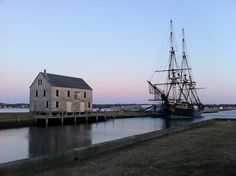Harbor and ship in Salem, MA.