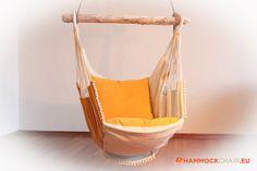 Hangmat stoel geel/wit