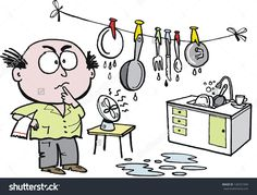 Vector cartoon of husband washing and drying dishes in kitchen.