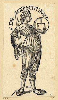 """""""Die Gerechtikait"""", Serie """"Die sieben Tugenden"""", c.1510, Hans Burgkmair der Ältere (1473-1531)"""