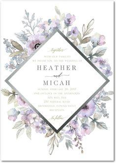 Diamond Blossoms - Signature Foil Wedding Invitations in Aloe or Tea Rose | Lady Jae