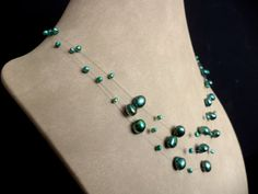 Sea Green Floating Pearl Necklace by Lunarpearl on Etsy, $17.00