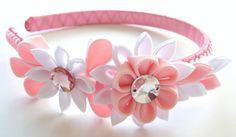 Kanzashi fabric flowers. Set of 8 pieces. Pink and white. by JuLVa