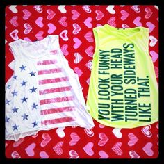 BUNDLE OF TWO MUSCLE TOPS Two muscle tops one with the red white and blue the other with funny writing. The left it FOREVER 21 size M-L , and the other is WET SEAL size SMALL. Tops Muscle Tees