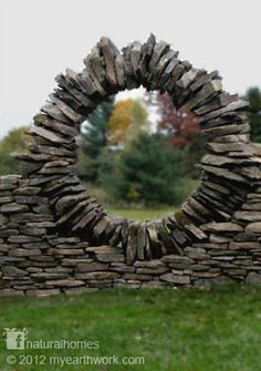 When someone connects with natural materials and the laws of nature, and brings to them experience and creativity, the result, in Thea's case, is a collection of flowing sculptures. This is the extraordinary work of Thea Alvin an artist, sculptor and dry stone mason based in Morrisville, Vermont, USA. See more of her work here www.naturalhomes.org/theaandstones.htm