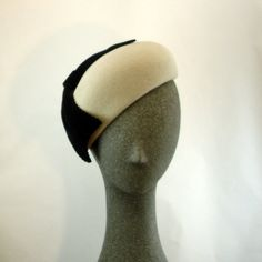 Cocktail Hat for Women 1950s Fashion Hat Pillbox Hat Light Taupe w Black Bow