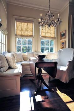Great style. Are those burlap roman shades? Love!