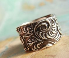Vintage Engraving Pattern Ring Eco Friendly by HappyGoLicky, $95.00