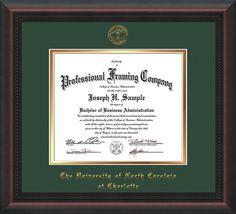 UNC Charlotte Diploma Frame - Mahogany Braid - w/UNCC seal Green/Gold – Professional Framing Company