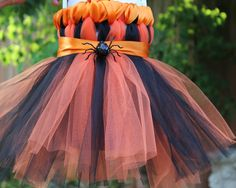 TuTu Dress for Baby,9-12 months,Orange,Black,Cute, Infant dress, homemade,Halloween, by LiLcraftsNthings on Etsy