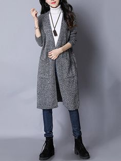 Casual Hollow Back Pockets Long Sleeve Women Cardigans
