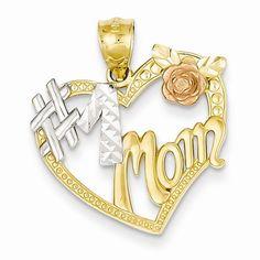 14k Two Tone Gold #1 Mom Heart Pendant