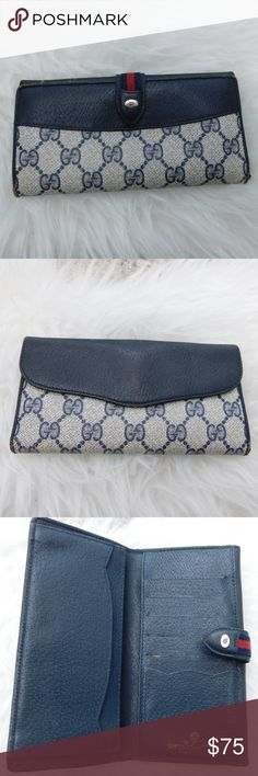 """VINTAGE GUCCI SIGNATURE WALLET BRAND- GUCCI COLOR- BLUE MATERIAL- LEATHER/CANVAS STYLE- BI-FOLD SIZE- 7"""" length, 3.5"""" height, 1"""" width FEATURES-  BLUE/RED WEB, 5 CARD SLOTS AND CHANGE POCKET ON BACK  CONDITION- DISTRESSED LEATHER EDGES, RUBBED AND EXPOSED. SEE PICS  Bin- PB WALLET.  PLEASE ASK QUESTIONS IF YOU HAVE ANY, I AM HAPPY TO ANSWER THEM. Gucci Bags Wallets"""