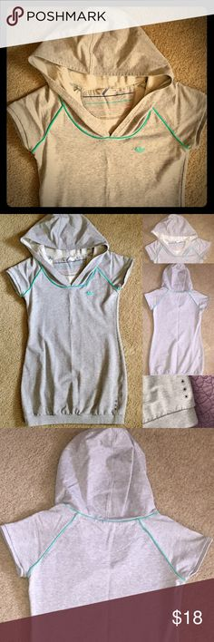 Adidas Originals Hoodie Dress Very comfy heather grey hoodie dress. This dress pairs great with leggings or by itself! Nice big hood and logo embroidered on chest. 86% Cotton 9% Polyester and 5% Spandex. Falls about mid-thigh. Adidas Tops Sweatshirts & Hoodies