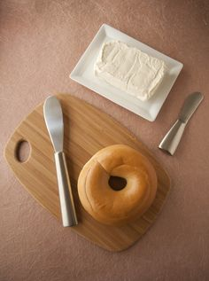 Bagel and cream cheese. Plain or cinnamon, freshly toasted - heavenly!