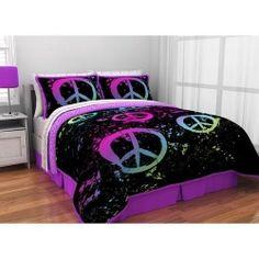 New Neon Peace Sign Full Sheet Set Lot Teens Tweens Dorm College Christmas Gift