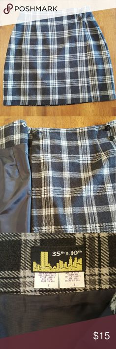"""35th & 10th black and grey plaid skirt. Plaid skirt, fully lined, dry clean only.  Excellent condition.  17"""" long. 35th & 10th Skirts Mini"""