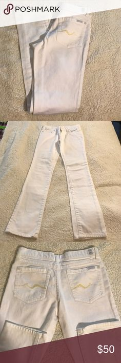 7 for All Mankind Roxanne Skinny Jeans Size 12 Excellent Condition. 7 for All Mankind crystal stud pocket in the back white skinny jeans. Size 12. Waist laying flat 13 1/2'. Rise 7'. Inseam 28'. Please check some of my items you might find what you are looking for in good quality and very affordable price.👕👖👔👗👢👡👠👘👘👞👞👟👒🎩🎓👛👝🎒⛑👑👜💼👓🕶🌂☂️. Worn once 7 For All Mankind Other