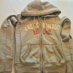 Women's Abercrombie & Fitch Gray Zip Front Graphic Hoodie Size XS Juniors #168 in Clothing, Shoes & Accessories, Women's Clothing, Sweats & Hoodies   eBay