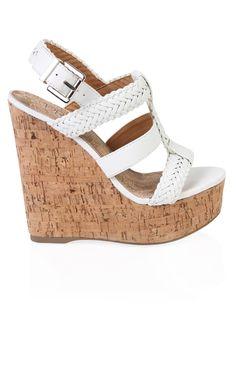 Deb Shops #white open toe cork #wedge