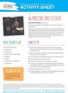 Pinecone Bird Feeders - At KidStart we give children the very best start in life to help them learn, play and grow. Part of our video and activity sheet series Things We Do At KidStart to show you what we get up to, and how you can do them at home! The videos are also on our YouTube channel as well: YouTube.com/BarnardosKidStart